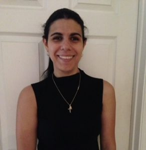 Photo of Francesca Marinaro wearing a Black sleeveless blouse